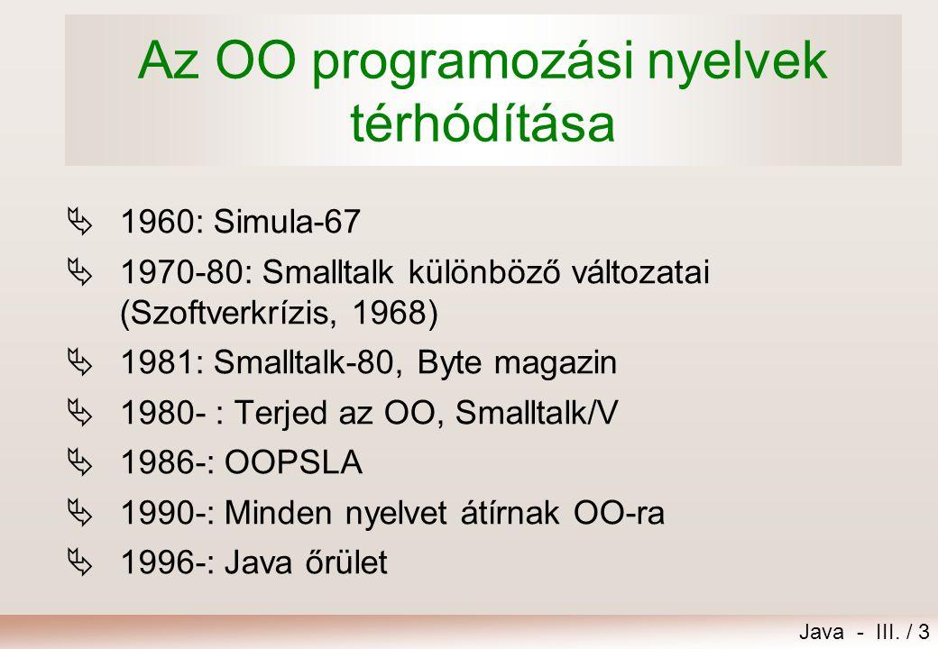 Az OO programozási nyelvek térhódítása