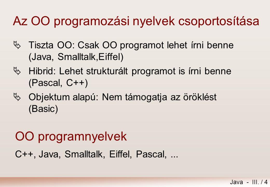 Az OO programozási nyelvek csoportosítása