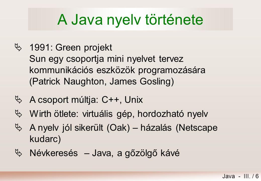 A Java nyelv története