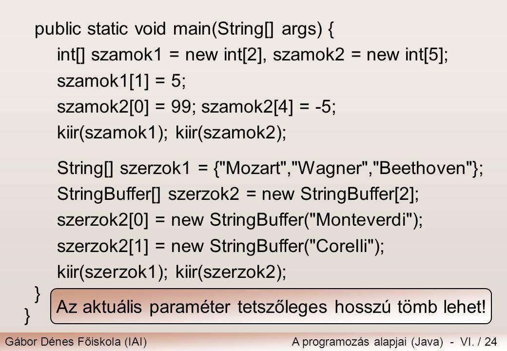 Az aktuális paraméter tetszőleges hosszú tömb lehet!