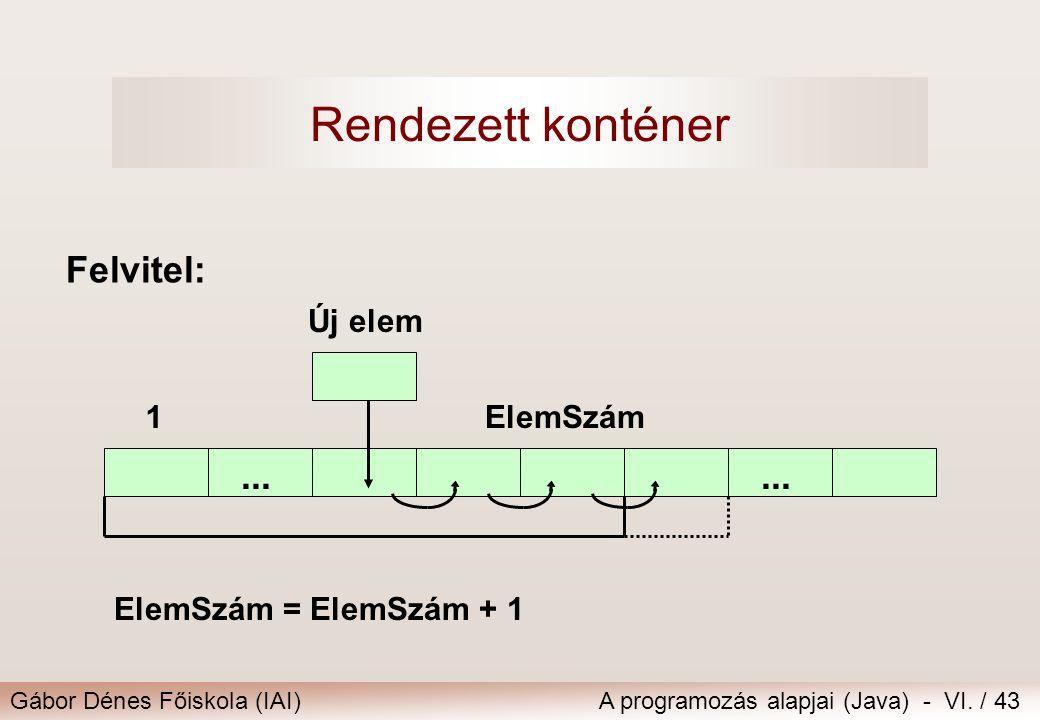 Rendezett konténer Felvitel: ... ... Új elem 1 ElemSzám