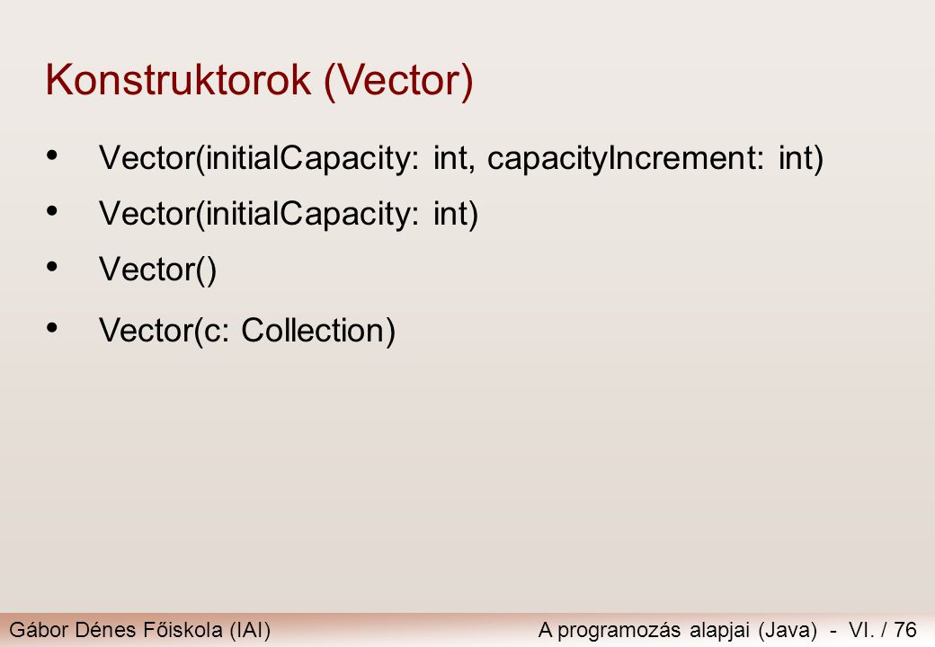 Konstruktorok (Vector)