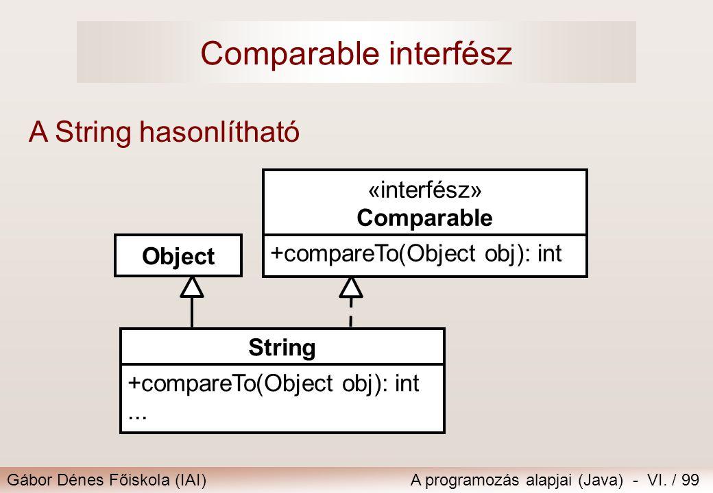 Comparable interfész A String hasonlítható «interfész» Comparable