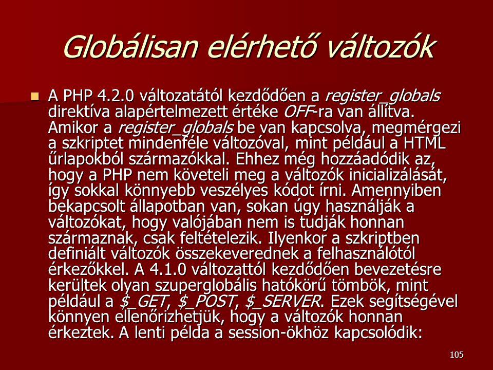 Globálisan elérhető változók
