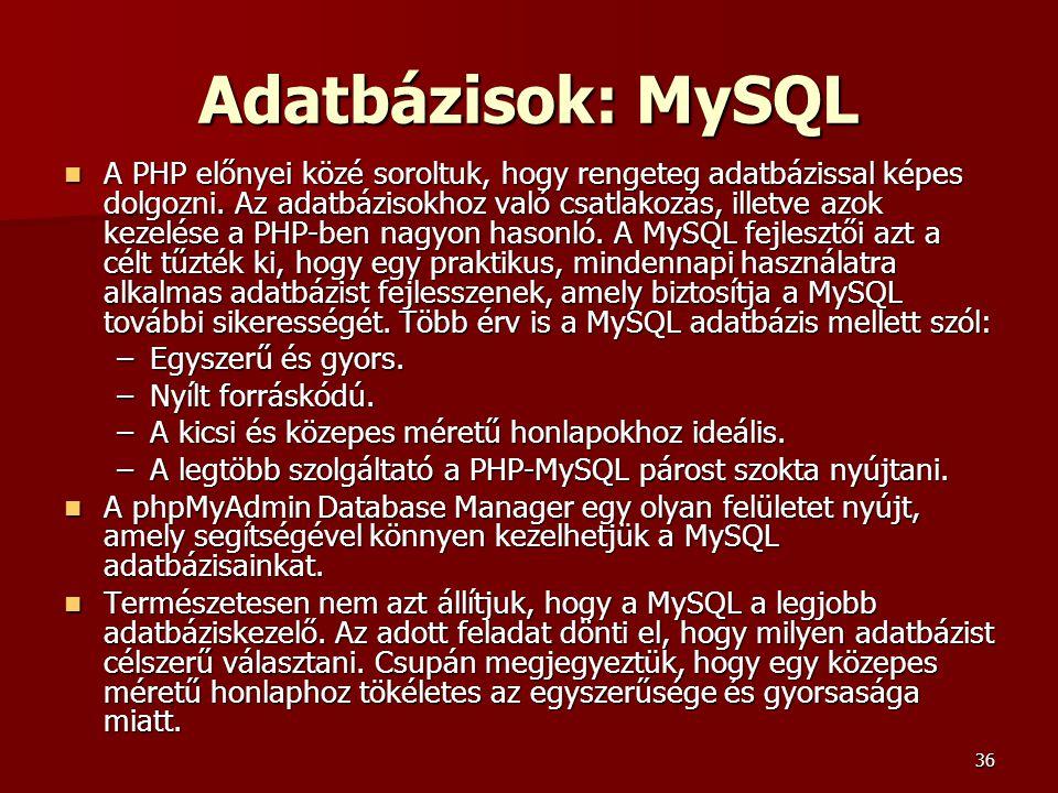 Adatbázisok: MySQL