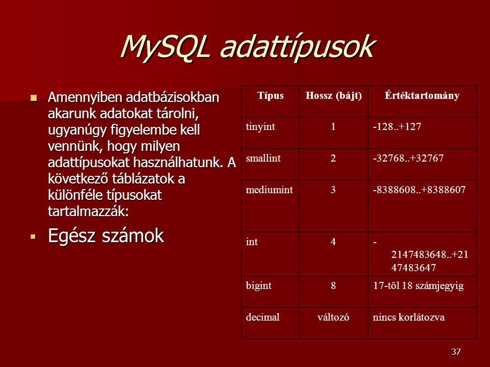 MySQL adattípusok Egész számok