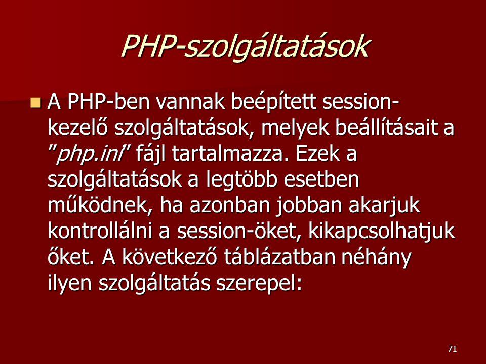 PHP-szolgáltatások