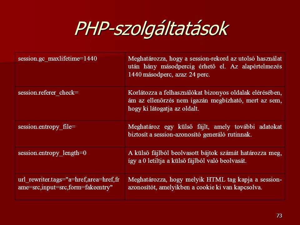 PHP-szolgáltatások session.gc_maxlifetime=1440