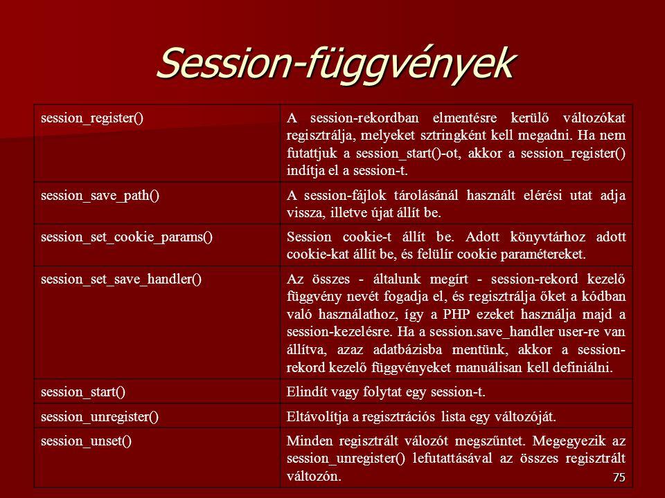 Session-függvények session_register()