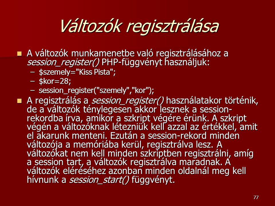 Változók regisztrálása