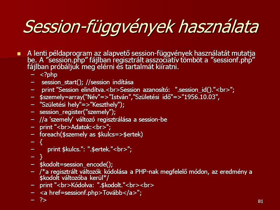Session-függvények használata