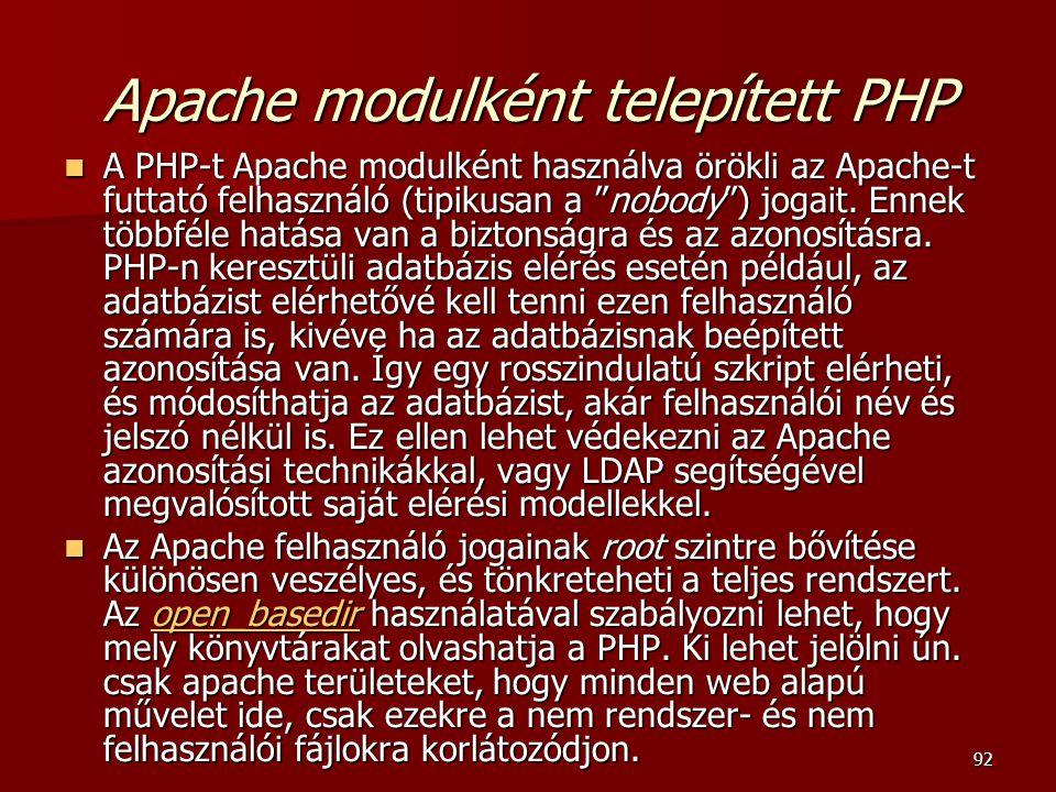 Apache modulként telepített PHP
