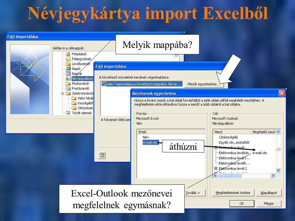Névjegykártya import Excelből