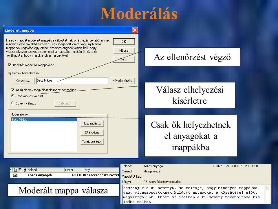 Moderálás Az ellenőrzést végző Válasz elhelyezési kísérletre