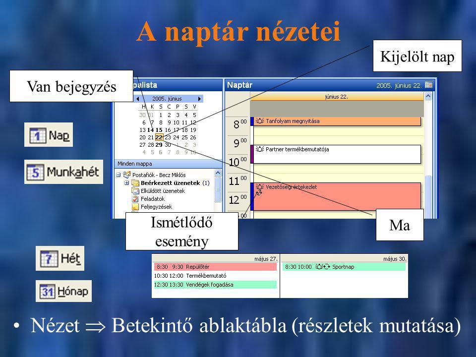 A naptár nézetei Nézet  Betekintő ablaktábla (részletek mutatása)