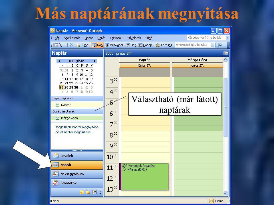 Más naptárának megnyitása