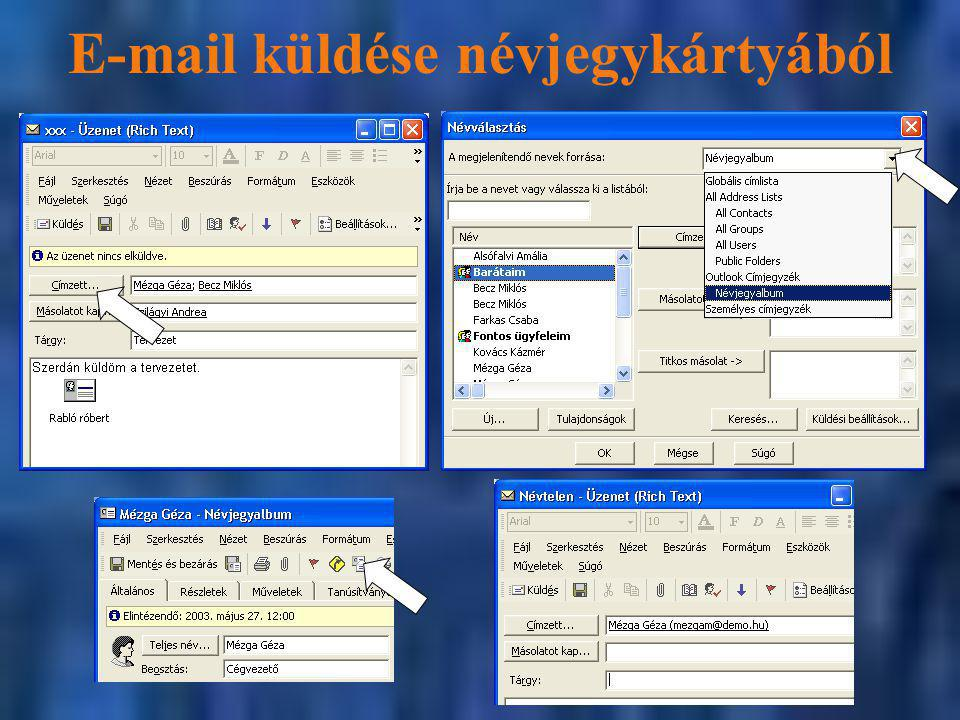 E-mail küldése névjegykártyából