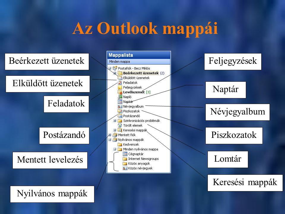 Az Outlook mappái Beérkezett üzenetek Feljegyzések Elküldött üzenetek