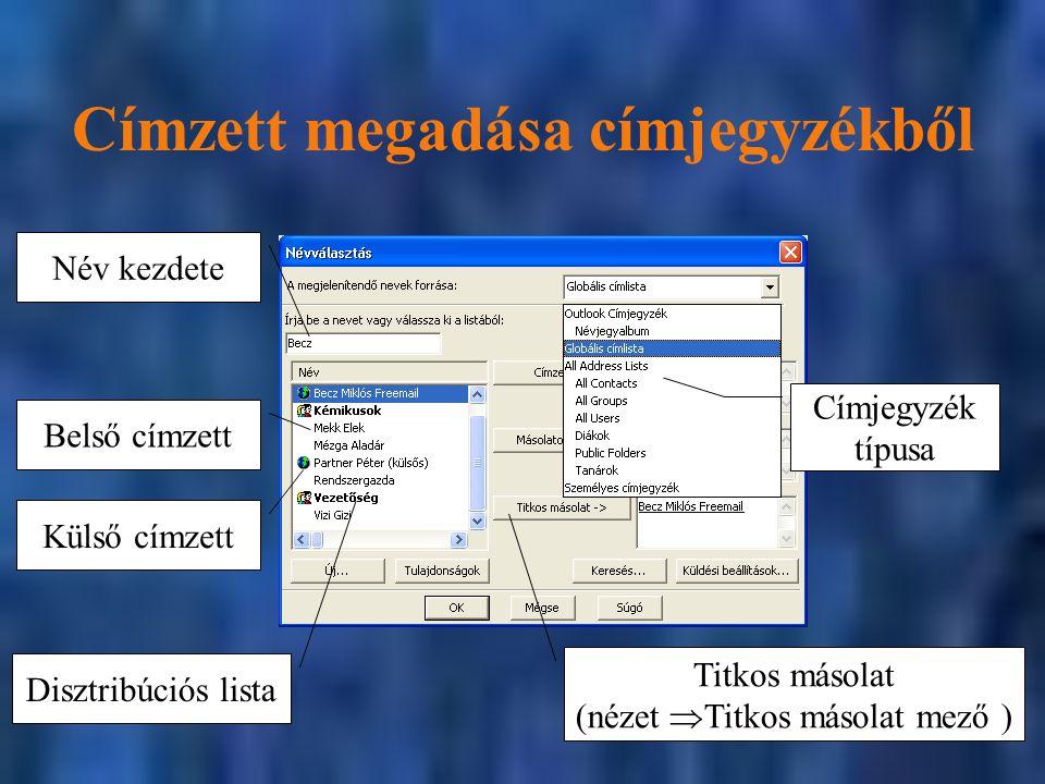 Címzett megadása címjegyzékből