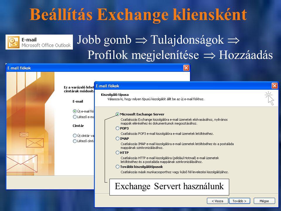 Beállítás Exchange kliensként