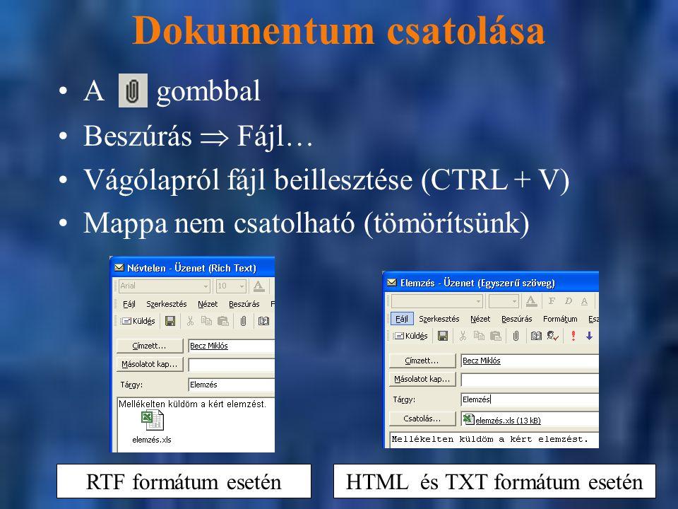 HTML és TXT formátum esetén