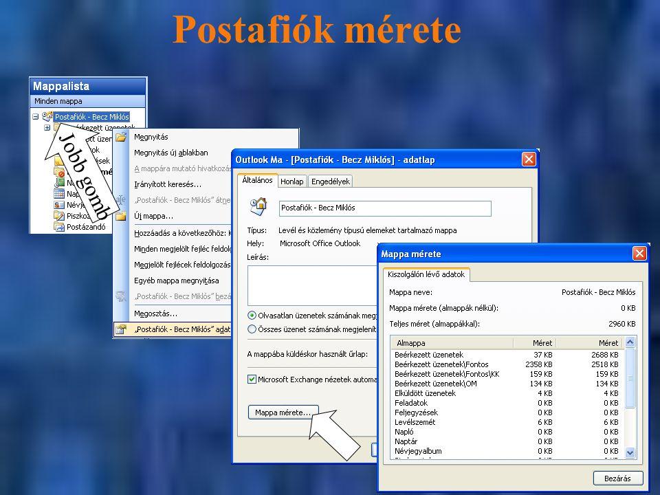 Postafiók mérete Jobb gomb