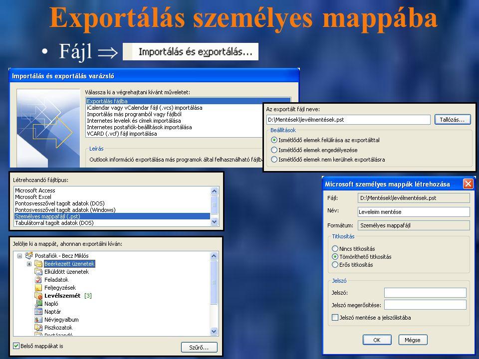 Exportálás személyes mappába