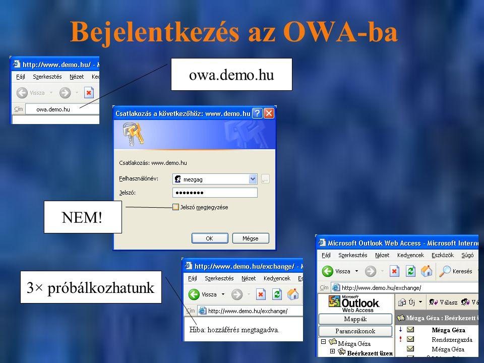 Bejelentkezés az OWA-ba