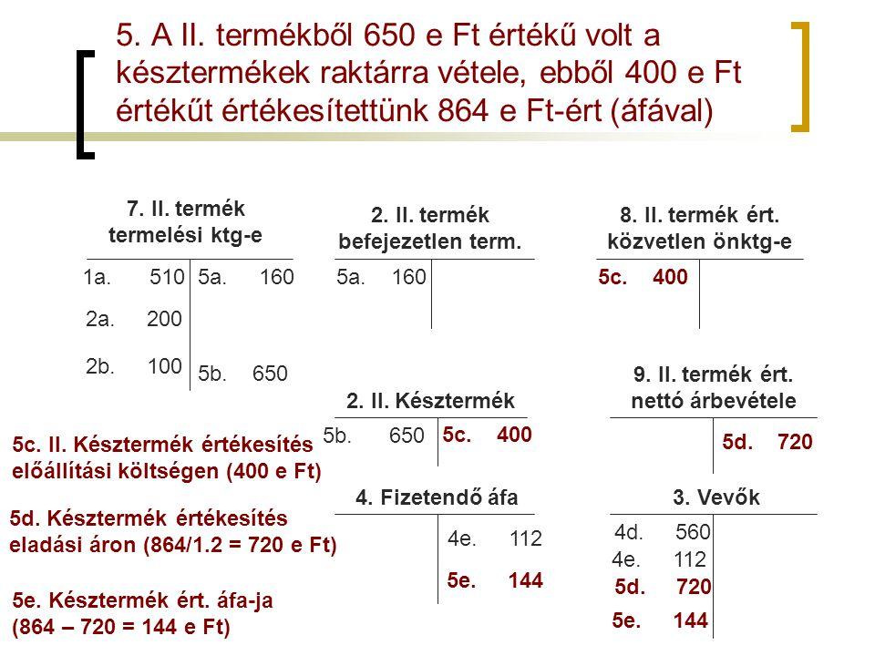 5. A II. termékből 650 e Ft értékű volt a késztermékek raktárra vétele, ebből 400 e Ft értékűt értékesítettünk 864 e Ft-ért (áfával)