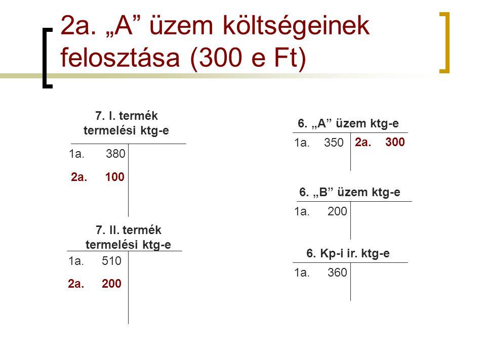 """2a. """"A üzem költségeinek felosztása (300 e Ft)"""