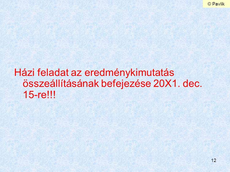 © Pavlik Házi feladat az eredménykimutatás összeállításának befejezése 20X1. dec. 15-re!!!