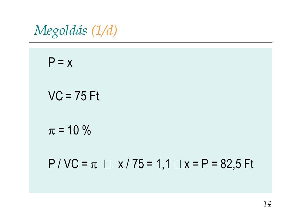 Megoldás (1/d) P = x VC = 75 Ft p = 10 %