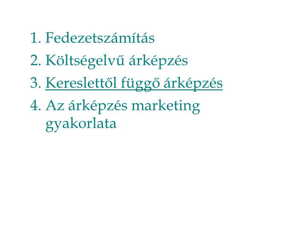 Fedezetszámítás Költségelvű árképzés Kereslettől függő árképzés Az árképzés marketing gyakorlata