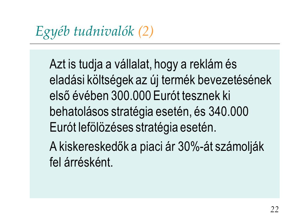Egyéb tudnivalók (2)