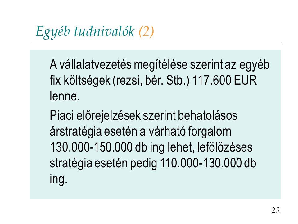 Egyéb tudnivalók (2) A vállalatvezetés megítélése szerint az egyéb fix költségek (rezsi, bér. Stb.) 117.600 EUR lenne.