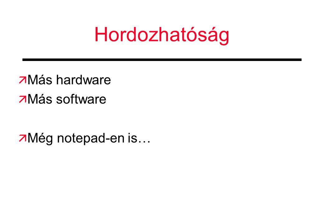 Hordozhatóság Más hardware Más software Még notepad-en is…