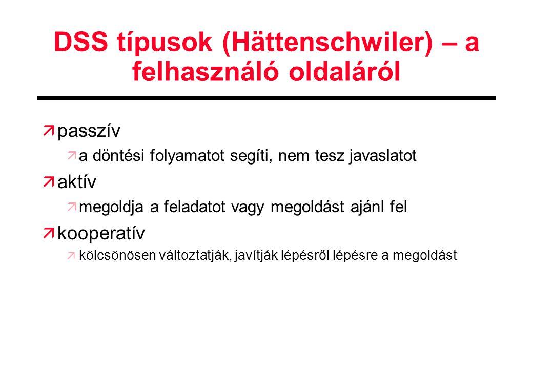 DSS típusok (Hättenschwiler) – a felhasználó oldaláról
