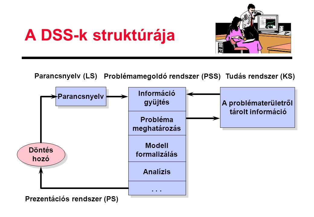 A DSS-k struktúrája Parancsnyelv (LS) Problémamegoldó rendszer (PSS)