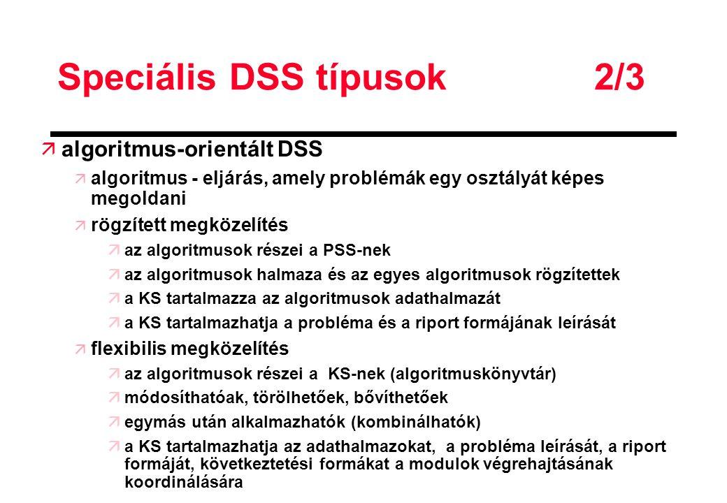Speciális DSS típusok 2/3
