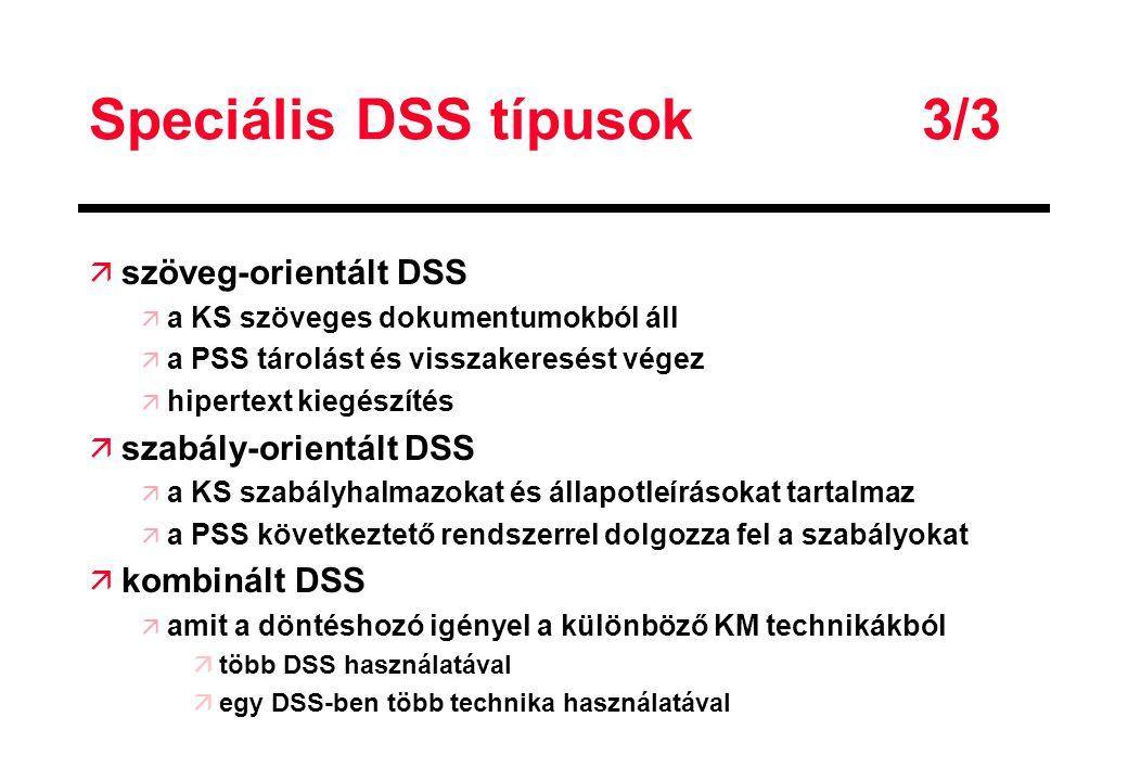 Speciális DSS típusok 3/3