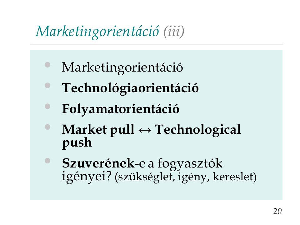 Marketingorientáció (iii)