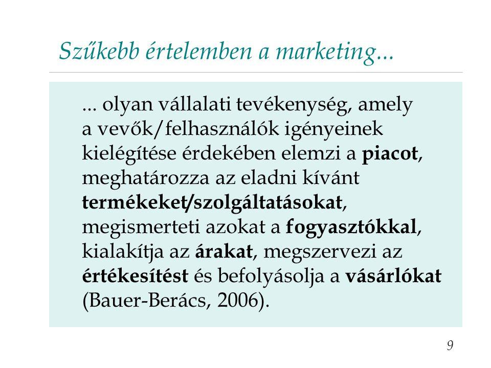 Szűkebb értelemben a marketing...