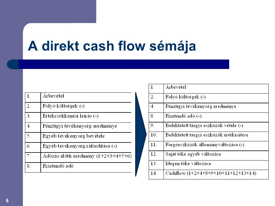 A direkt cash flow sémája
