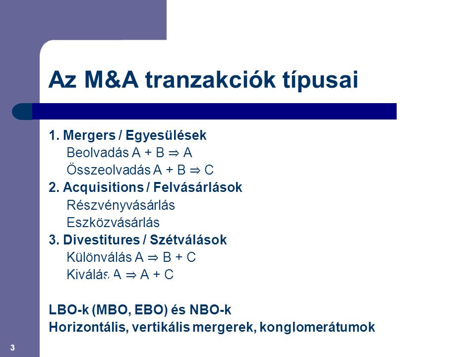 Az M&A tranzakciók típusai