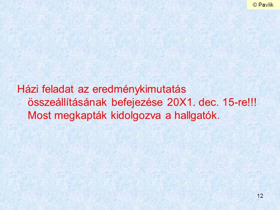 © Pavlik Házi feladat az eredménykimutatás összeállításának befejezése 20X1.