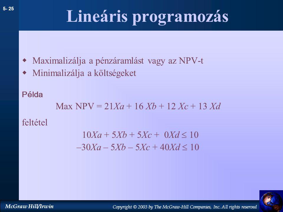 Lineáris programozás Maximalizálja a pénzáramlást vagy az NPV-t