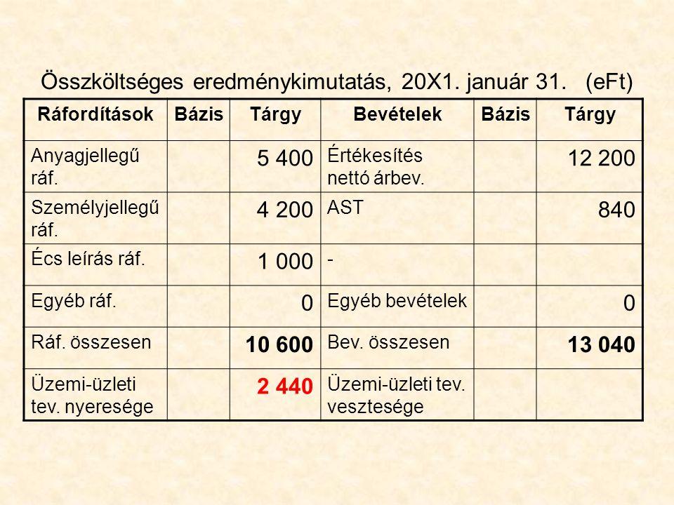 Összköltséges eredménykimutatás, 20X1. január 31. (eFt)