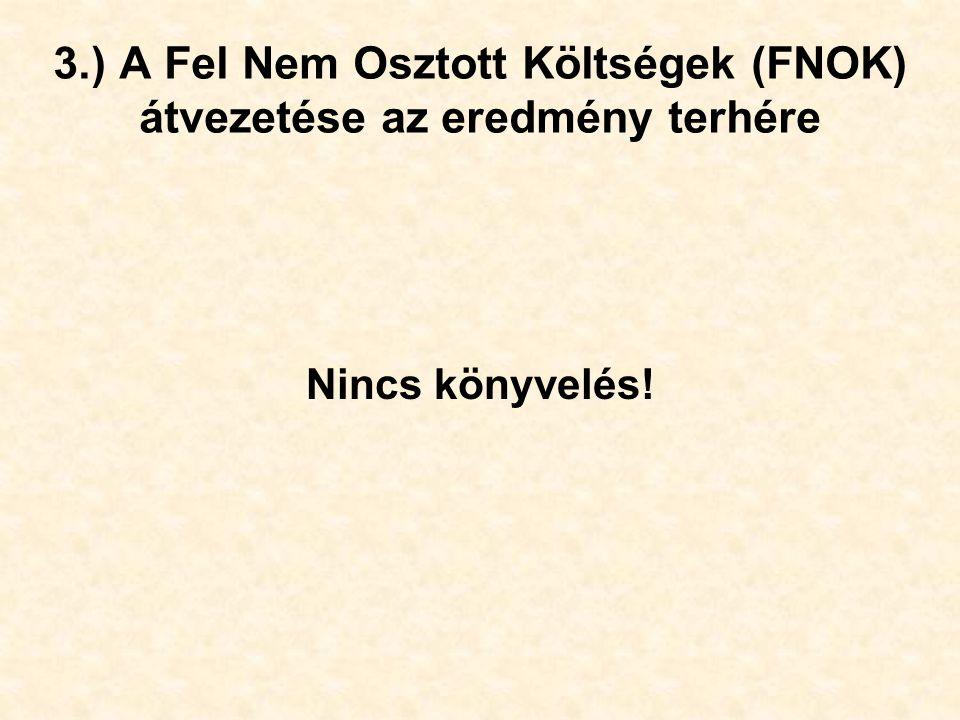 3.) A Fel Nem Osztott Költségek (FNOK) átvezetése az eredmény terhére