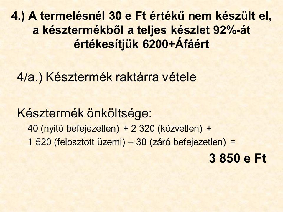 4/a.) Késztermék raktárra vétele Késztermék önköltsége: