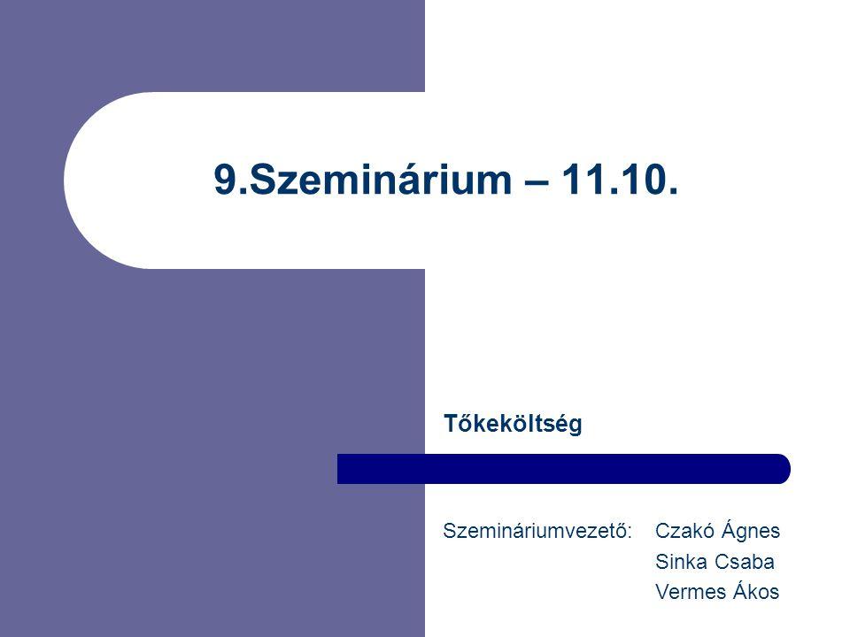 9.Szeminárium – 11.10. Tőkeköltség Szemináriumvezető: Czakó Ágnes